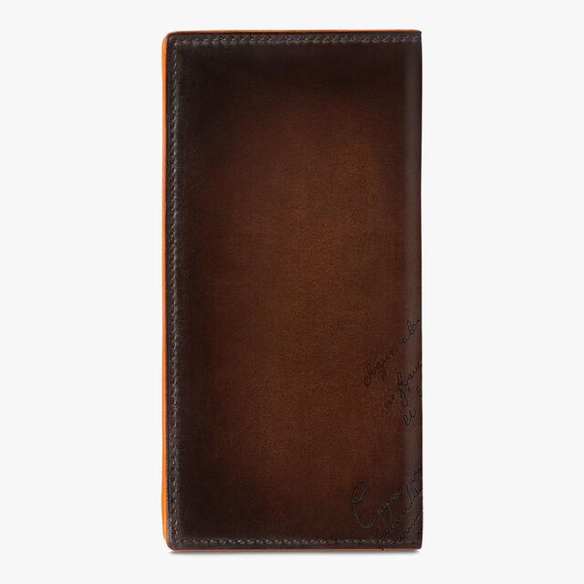 Neo Santal Scritto Leather Long Wallet, TDM INTENSO + ORANGE, hi-res