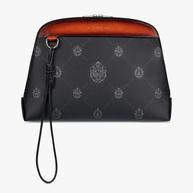 Ninorigami Canvas and Leather Clutch , BLACK + TERRACOTTA, hi-res
