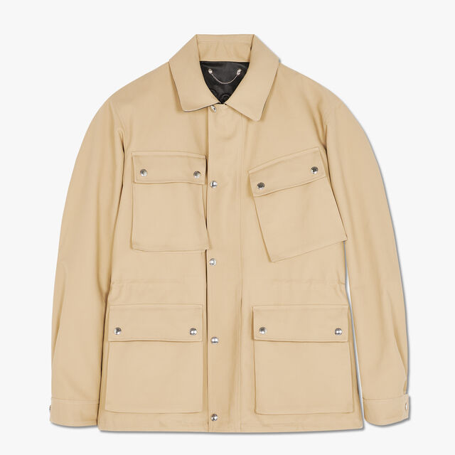 Cotton Field Jacket With Leather Details