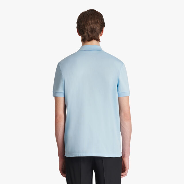 Cotton Polo-Shirt  With Crest Leather Patch, SKY BLUE, hi-res