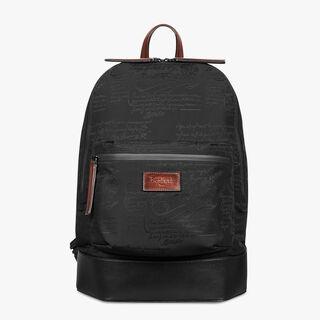 Volume Nylon Calf Leather Backpack, NERO, hi-res