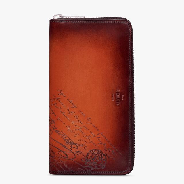 Itauba Scritto Swipe Leather Long Zipped Wallet, TERRACOTTA, hi-res