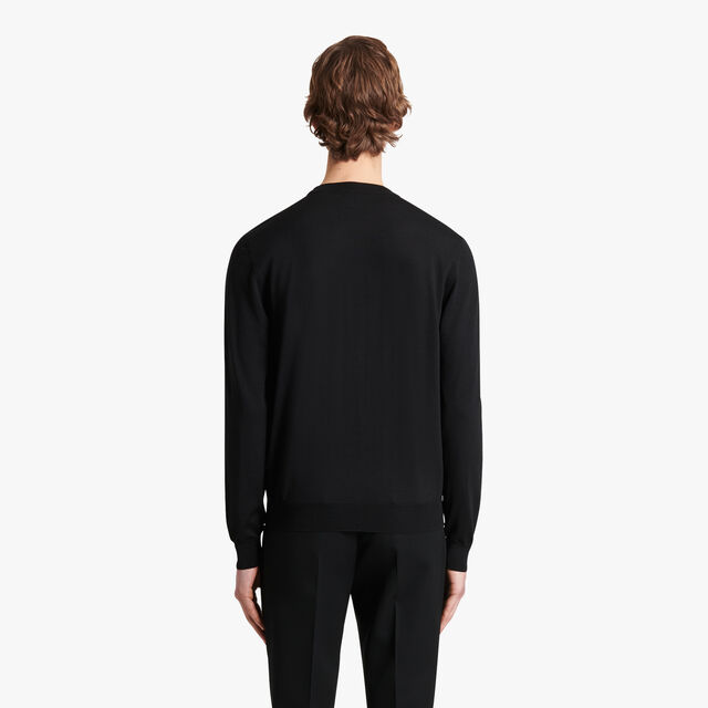 Wool Sweater With Leather Details, NOIR, hi-res