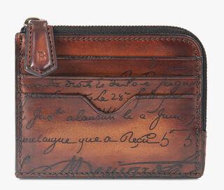 Koa Logic Engraved Calf Leather Zipped Card Holder, MOGANO, hi-res