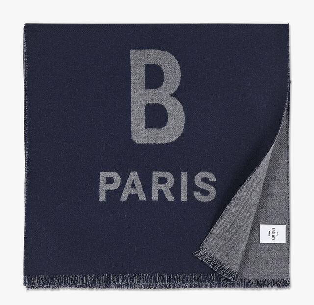 有LOGO的长方形双色羊毛围巾。, NAVY/LEAD, hi-res