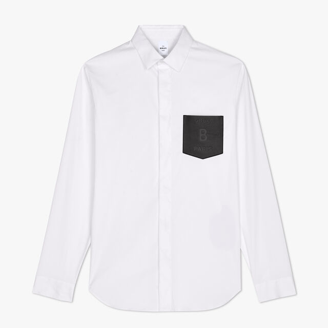 Cotton Shirt With Leather Pocket, BLANC OPTIQUE, hi-res