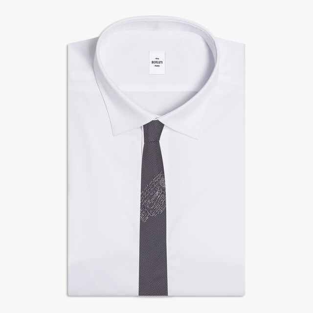 Small Striped Tie With Scritto, SPACE BLUE, hi-res