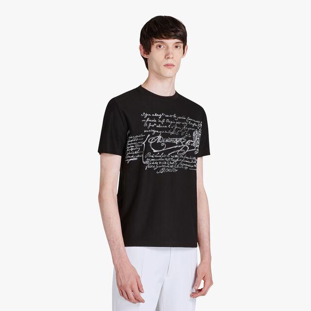 T-shirt Scritto En Coton Mélangé, NOIR, hi-res