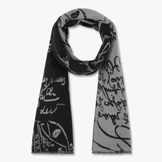 Jacquard Scritto Wool Scarf, BLACK / LEAD, hi-res