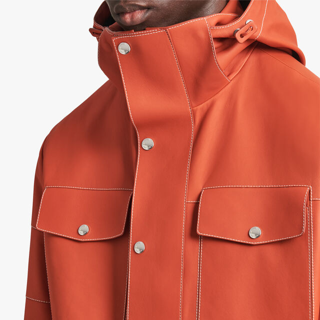 Leather Parka With Contrasted Stitches, TERRACOTTA, hi-res