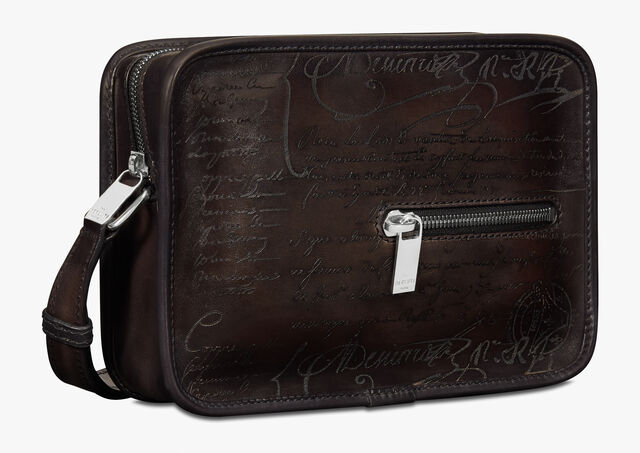 Sac Bandoulière Journalier En Cuir Scritto, ICE BLACK, hi-res