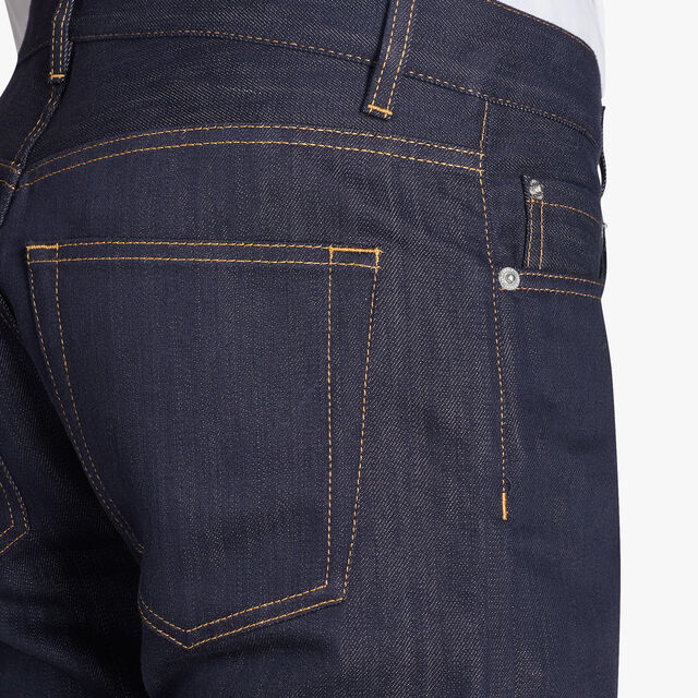 Stretch Denim Pants With Leather Details, INDIGO, hi-res