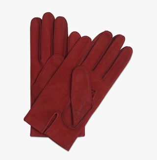 Nubuck Detail Scritto Gloves, RED, hi-res