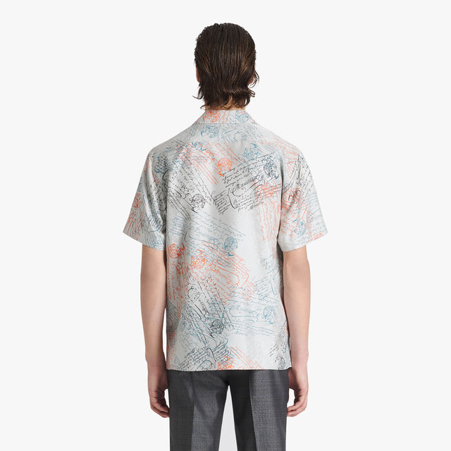 Printed Silk Oversize Shirt, SCRITTO ICE GREY, hi-res