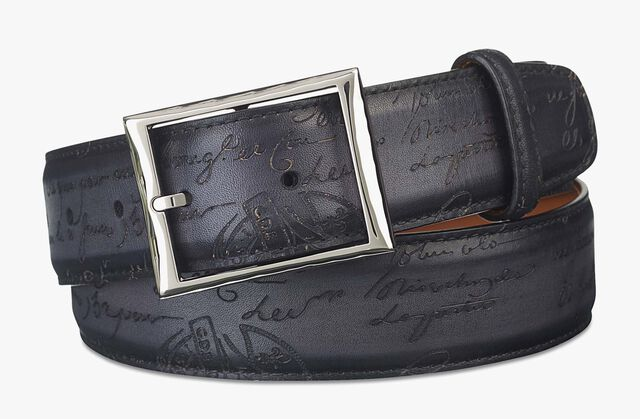 Classic Scritto Leather Belt - 35 mm, NERO, hi-res