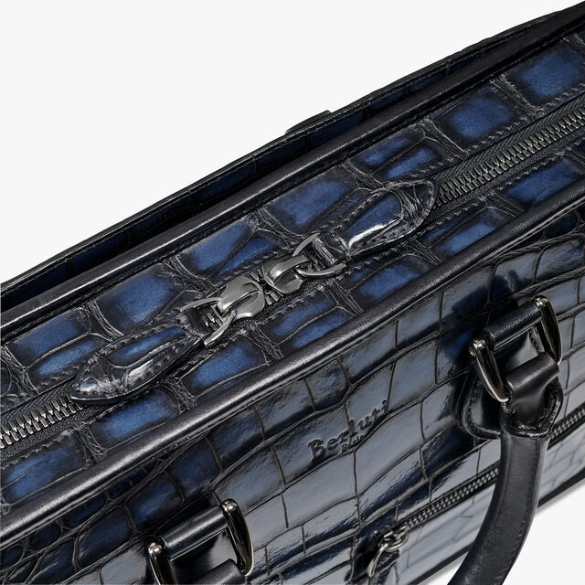 Un Jour Mini Alligator Leather Briefcase, NERO BLU, hi-res