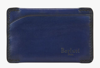Easy Calf Leather Card Holder, BLEU PRUSSIEN, hi-res