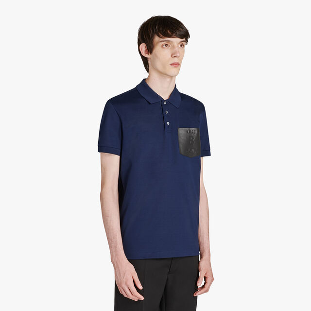 Regular Fit Cotton Polo Shirt With Leather Chest Pocket, MAZARINE BLUE, hi-res