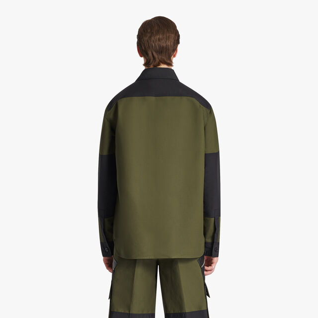 Colorblock Overshirt, FOREST GREEN, hi-res