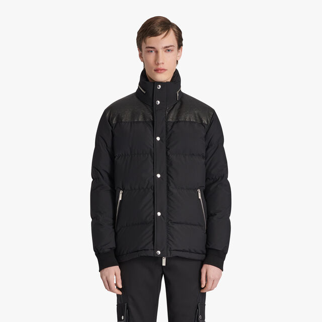 Nylon Downjacket With Scritto Leather, NOIR, hi-res