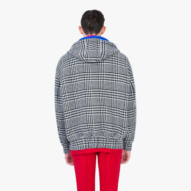 Prince Of Wales Double Face Hoodie, BLACK CHECK / LAPIS BLUE, hi-res