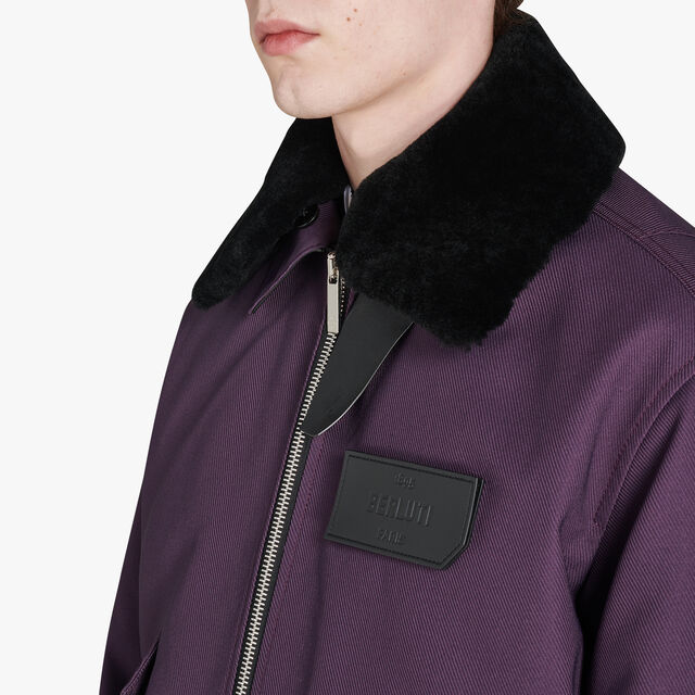 Cotton Bomber With Removable Shearling Collar, METAMORPHOSIS, hi-res