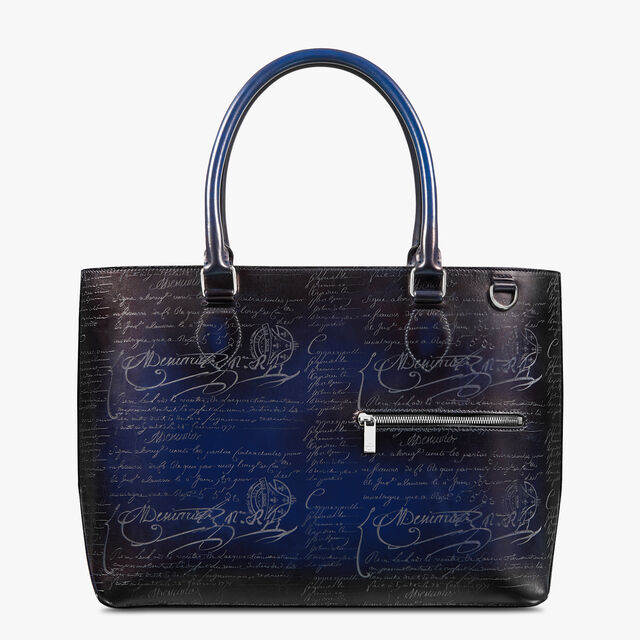 Toujours Scritto Leather Tote Bag, UTOPIA BLUE, hi-res