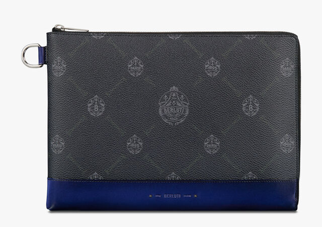 Nino Large Canvas and Leather Clutch , BLACK+UTOPIA BLUE, hi-res