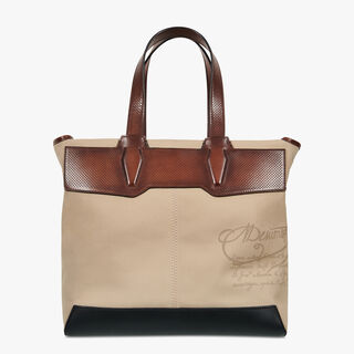 Aire Small Canvas & Leather Tote, BEIGE, hi-res
