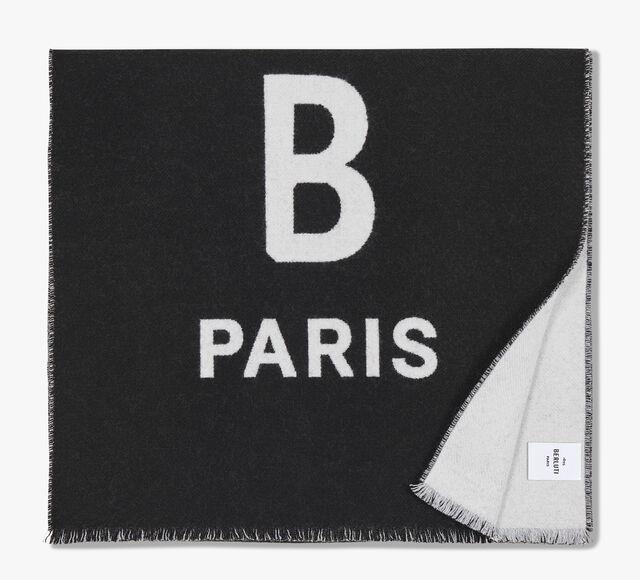 Rectangular Bicolor Wool Scarf With Logo, NOIR/OPTICAL WHITE, hi-res
