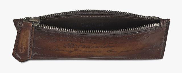 Koa Maxi Scritto Leather Zipped Card Holder, TOBACCO BIS, hi-res