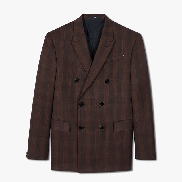 Prince Of Wales Double Breasted Lined Jacket, BROWN GALLES, hi-res