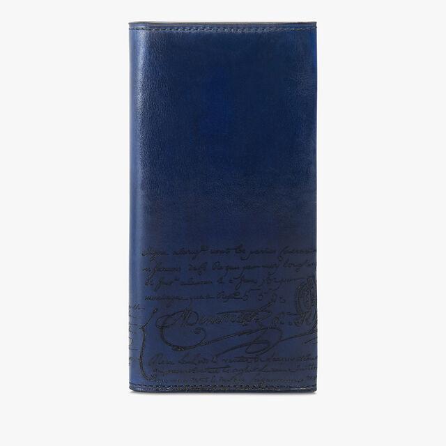 Espace Scritto Leather Long Wallet, BLU PROFONDO, hi-res