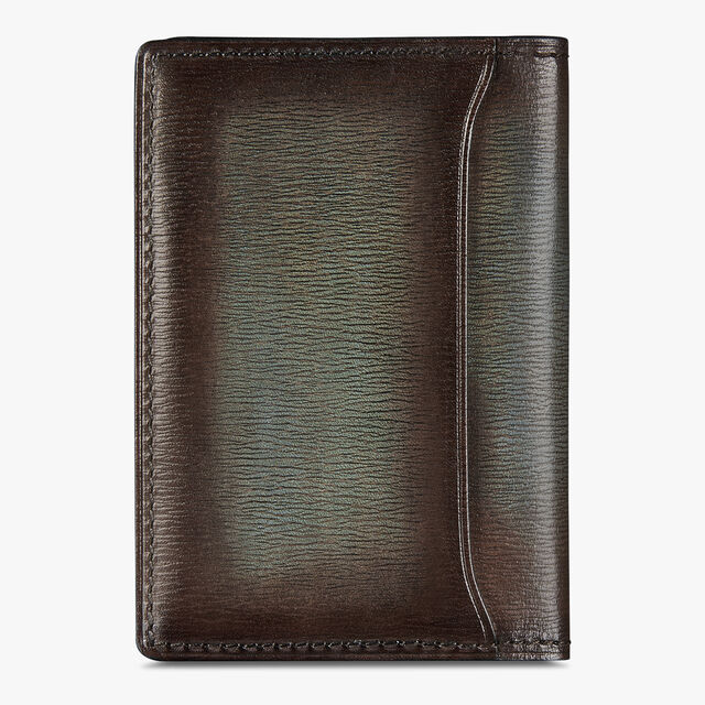 Jagua Embossed Leather Card Holder, ICE BROWN, hi-res