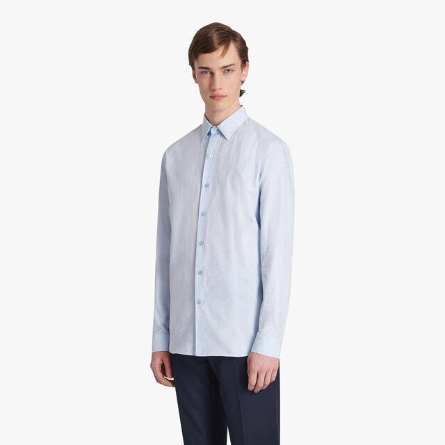 Oxford Jacquard Scritto Shirt, SKY BLUE, hi-res