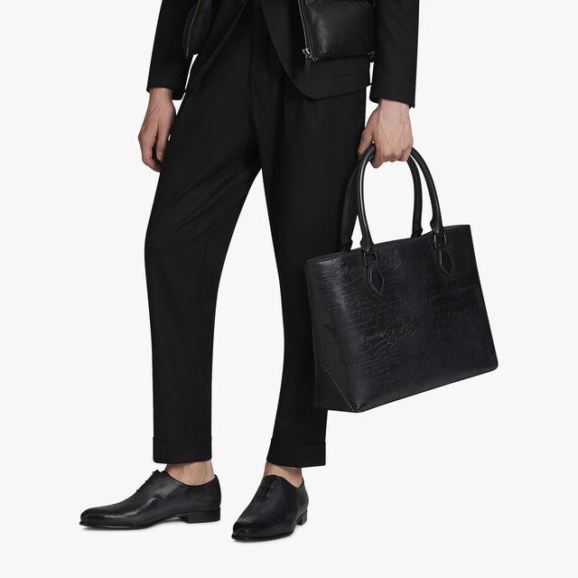 Toujours Scritto Leather Tote Bag, NERO GRIGIO, hi-res