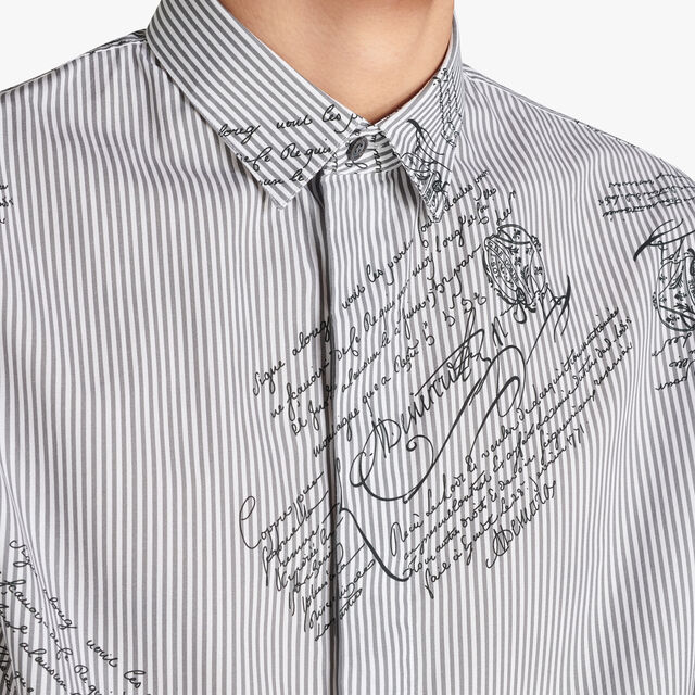 Slim-Fit Scritto And Printed Stripes Cotton-Poplin Shirt, LEAD, hi-res