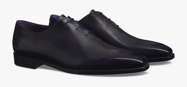 Alessandro Demesure Calf Leather Oxford, Leather Sole , NERO, hi-res