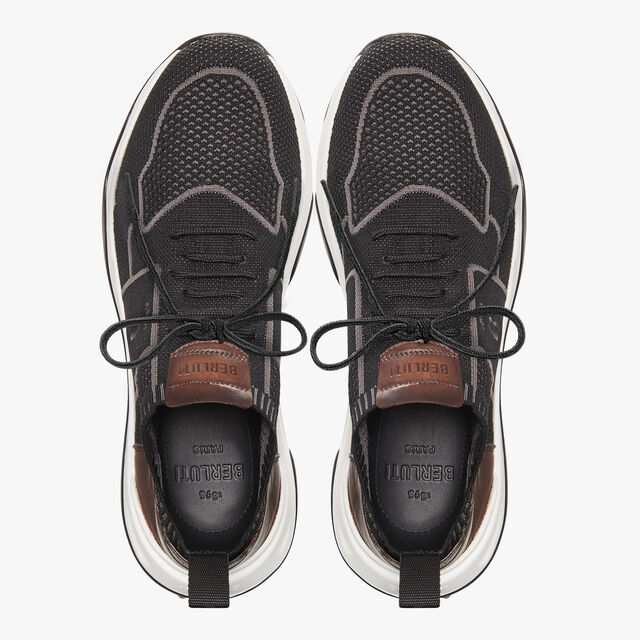 Shadow Knit Sneaker With Leather Details, BLACK, hi-res