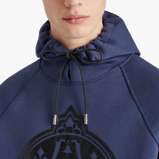Neoprene Hoodie With Leather Crest, SPACE BLUE / STEEL GREY, hi-res