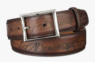 Classic Engraved Calf Leather Belt - 35 Mm, TOBACCO BIS, hi-res