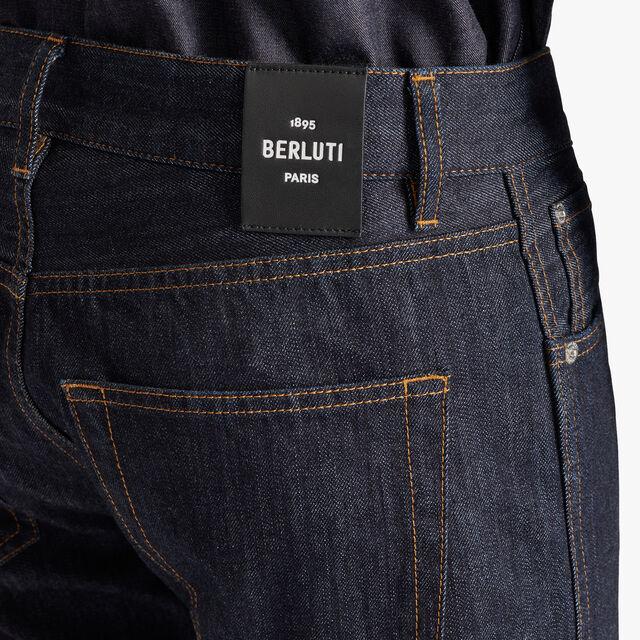 Scritto图纹靛蓝色牛仔长裤, INDIGO, hi-res