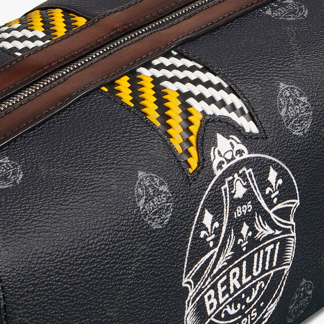 Aventure Gulliver Canvas and Leather Messenger Bag, BLACK  + YELLOW, hi-res
