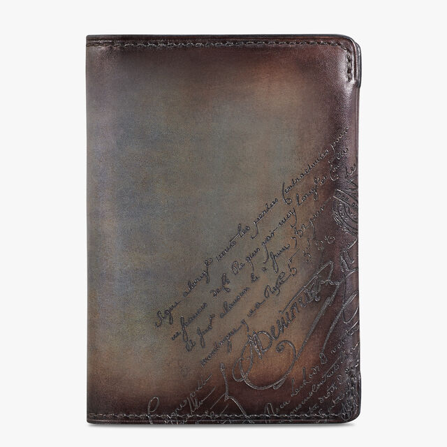 Ideal Epure Small Scritto Leather Card Holder, ICE BROWN, hi-res