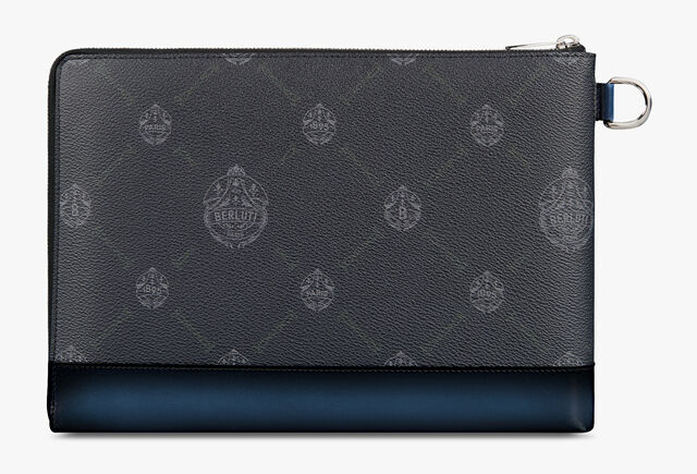 Nino Large Canvas and Leather Clutch , BLACK + BLUE KEN, hi-res