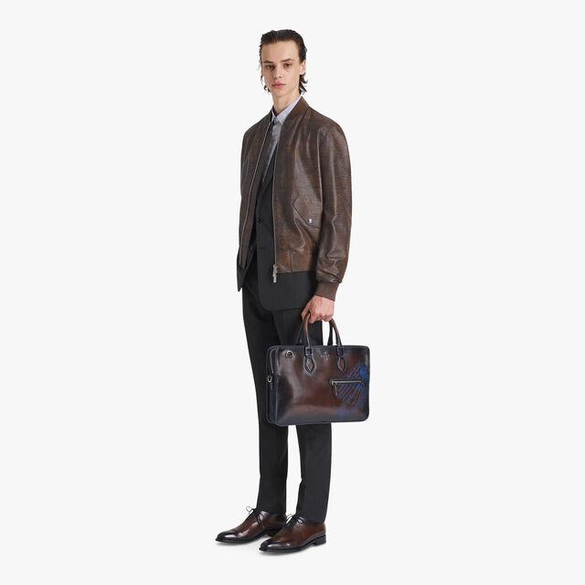 压印Scritto图案的转色皮革飞行员夹克, BRUN, hi-res