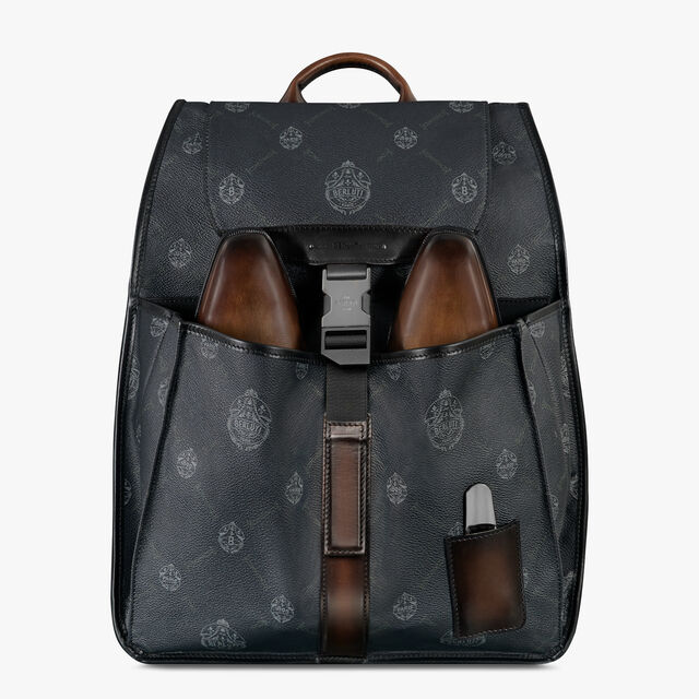 Voyageur Canvas and Leather Backpack, BLACK + TDM INTENSO, hi-res