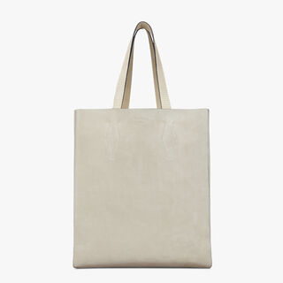 Silhouette Leather Tote, BIANCO, hi-res
