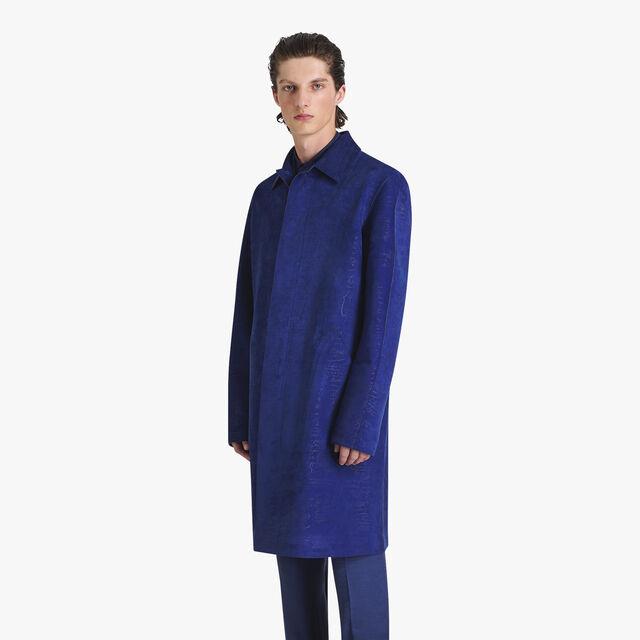 Scritto Suede Leather Long Car Coat, BLUE FLASH, hi-res
