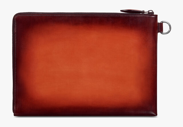 Nino GM Scritto Leather Clutch, TERRACOTTA, hi-res